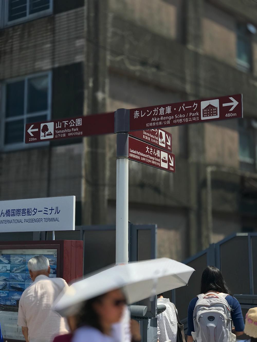 開港の道にある方角をしめす標識