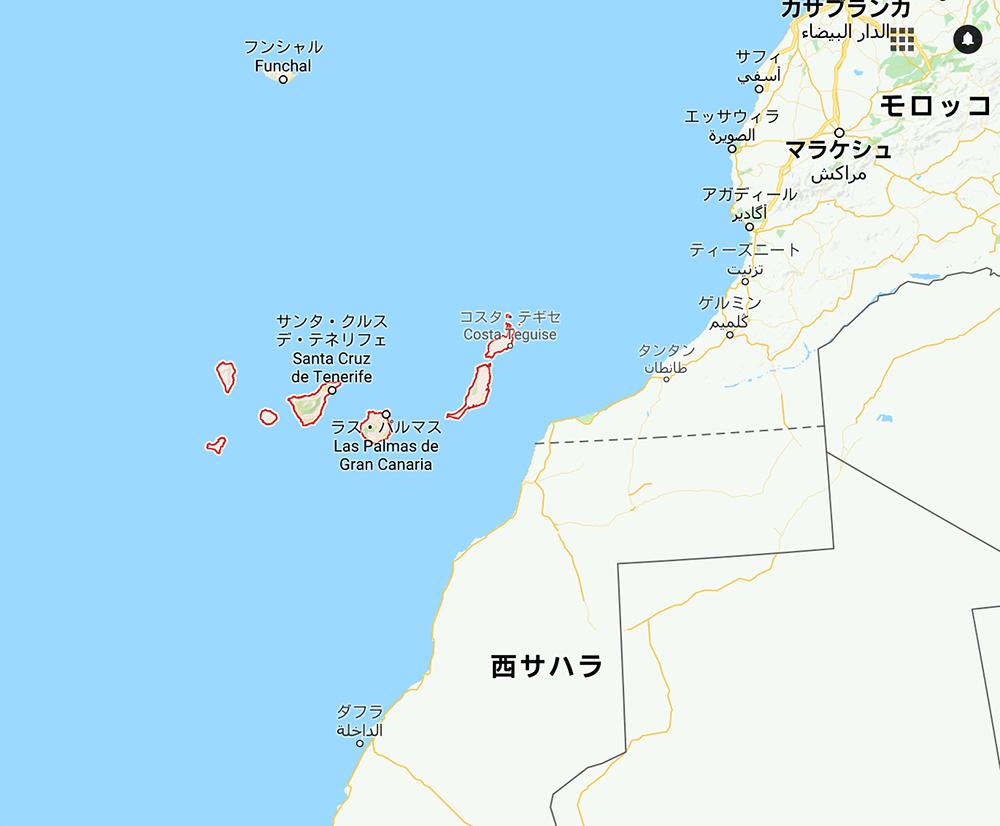 カナリア諸島の場所の地図