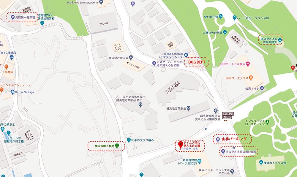 外人墓地中心にした駐車場マップ