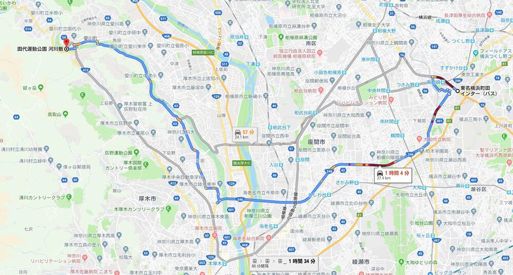 田代運動公園河川敷までの地図