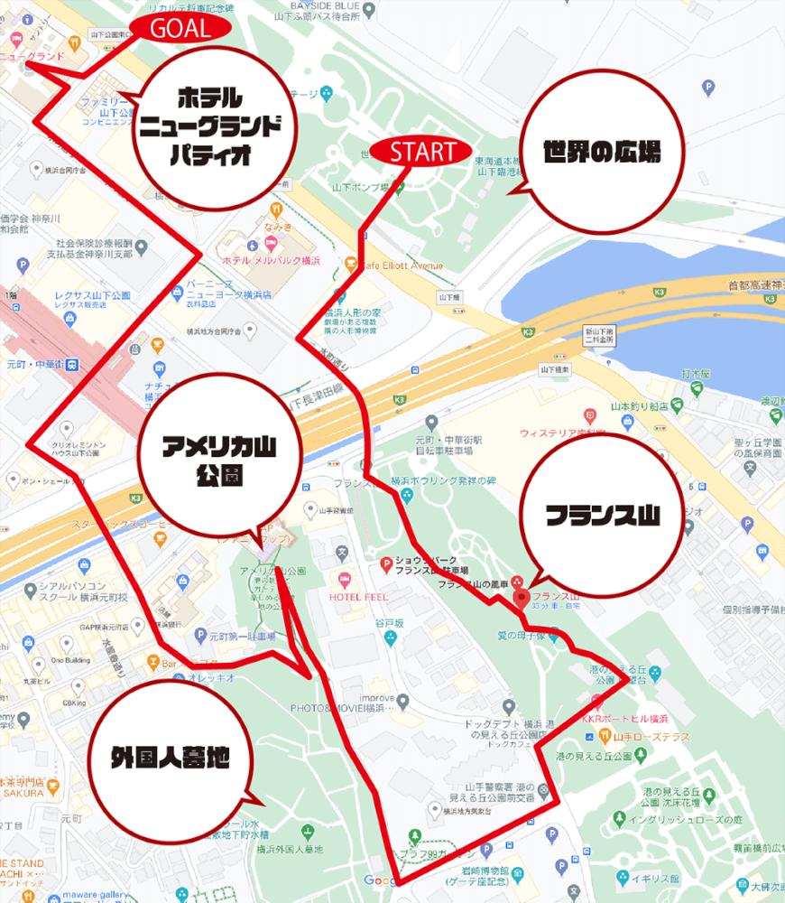 今回の散歩コース全体図